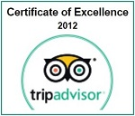 Trip Advisor Certificate of Excellence 2012