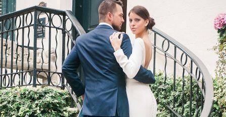 Ballstone Wedding Couple - Stairwell