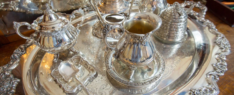Silver in the tea room at Ballastone Inn during high tea in Savannah, GA.