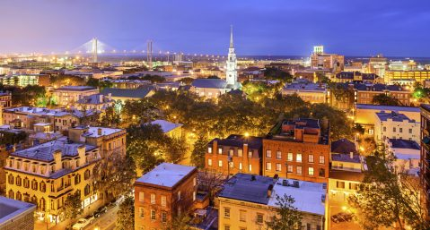 Image of Savannah skyline at night.