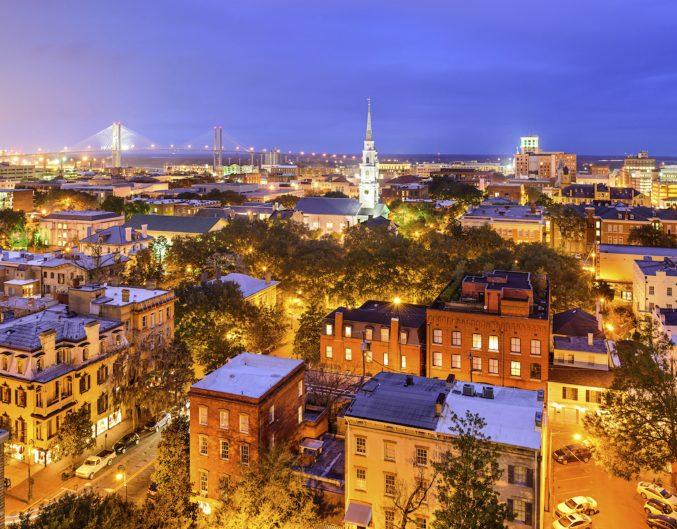 Image of Savannah skyline at night.